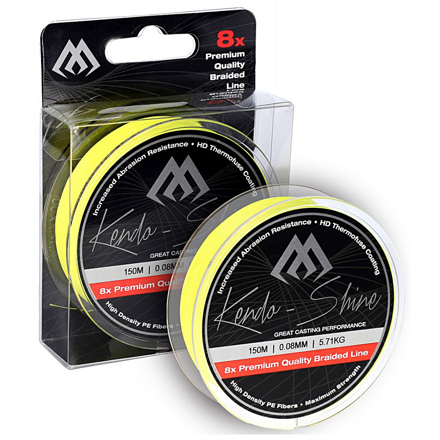 Шнур Mikado Kendo Shine Braid 150м 0,10 мм 8,23 кг fluo yellow
