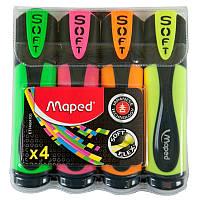 Маркер текстовыделитель Maped FLUO PEPS Ultra Soft набор 4 шт (MP.746047)