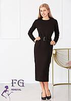 Черное платье миди с поясом