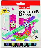 Набор детских фломастеров GLITTER, 6 цв., с глиттерами, Bruynzeel