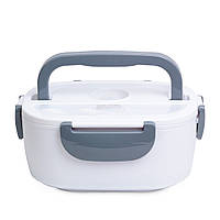 Термо Ланч бокс с подогревом от розетки 220В контейнер для разогрева еды Electric Lunch Box Бело-серый, (Оригинал)