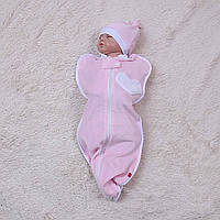 """Плюшевая евро пеленка кокон с шапочкой """"Puso"""" для новорожденной девочки. Розовая, фото 1"""