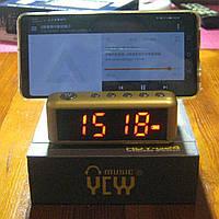 Портативная Bluetooth колонка с подставкой под телефон и будильником HDY-G24 (золотистая)
