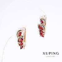 Серьги Хьюпинг камни цвет красный позолота, длина 1,5см, толщина 6мм