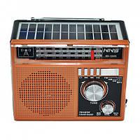 Акустическая система NNS радиоприёмник на солнечной батарее в ретро стиле аккумуляторная колонка с FM радио с USB и фонариком Коричневый (NNS-1360S),