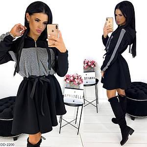 Черное зимнее нарядное платье