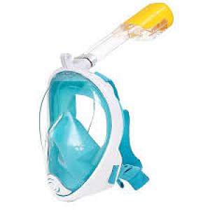 Маска на всё лицо для сноркелинга FREE BREATH L/XL с креплением на камеру Бирюзовая