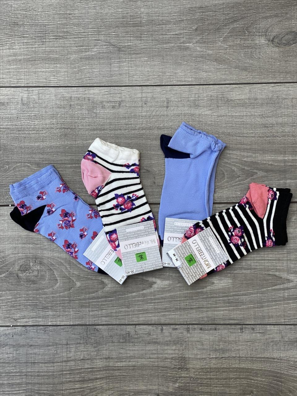Жіночі шкарпетки короткі бавовна в смужку Montebello з квітками 35-40 12 шт в уп мікс 4 кольорів