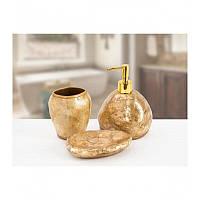 Комплект в ванную Irya - Sedef gold золотой (3 предмета)