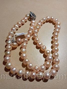 Намисто і Сережки з натурального річкових перлів