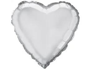 """Фольгированный шар """"Сердце"""" серебряное 45 см, Flexmetal Испания"""