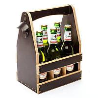 """Ящик-корзинка для пива BST PPK-05 """"Много не бывает"""" для 6 бутылок пива 0,33 л. 23х17х32см."""
