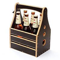"Ящик-корзинка для пива BST PPK-04 ""В компании друзей"" для 6 бутылок пива 0,5 л. 26х18х34 см."