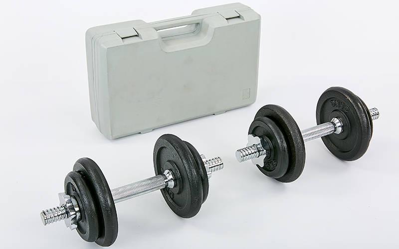 Гантели разборные (2 шт) стальные 20 кг в пласт. кейсе Record TA-7230-20