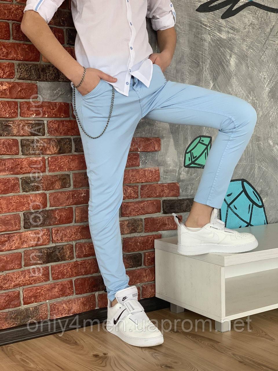 Нежно голубые штаны для мальчика на 110-128см