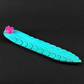 Красивая деревянная резная подставка под благовония ручной работы, ярко-голубая с розовым цветком