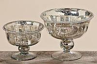 Декоративная миска Дион лакированное серебряное стекло d19 h16cm 1567500