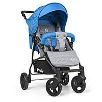 Детская прогулочная коляска с корзиной (+чехол на ножки, подстаканник, дождевик) синего цвета арт. 1012-4