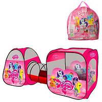 """Детская палатка двойная с тоннелем """"Пони"""" для дома и улицы, 2 входа, окна с сеткой, размер 234-92-73 см арт. 3774"""