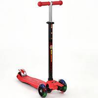 Детский Самокат для детей с регулировкой ручки, светящ. колеса, ABEC-7, Scooter Best Maxi красный арт. 466-113
