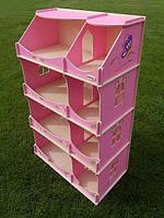 Игровой Кукольный Домик-шкаф для игрушек Hega для дома и улицы с росписью розовый, 60х30х114 см, арт. TM Hega*