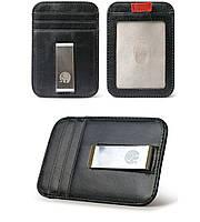 Мужской кожаный зажим для денег Elite Leather Wallet Black. Шкіряний зажим для грошей