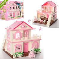 Игрушечный Двухэтажный Домик для лесных семеек Happy Family с мебелью, 1 фигуркой, 34х30х35 см, арт. 1515