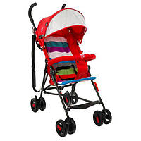 Детская прогулочная коляска-трость с 2х точечным ремнем и ортопедической спинкой, TM JOY, красная арт. 108Т
