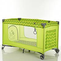 Детский прямоугольный манеж с аксессуарами от El Camino, Safe Green Zigzag, размер 21,5-20,5-77 см арт. 1016