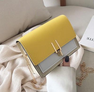 Желтая с бежевым сумка