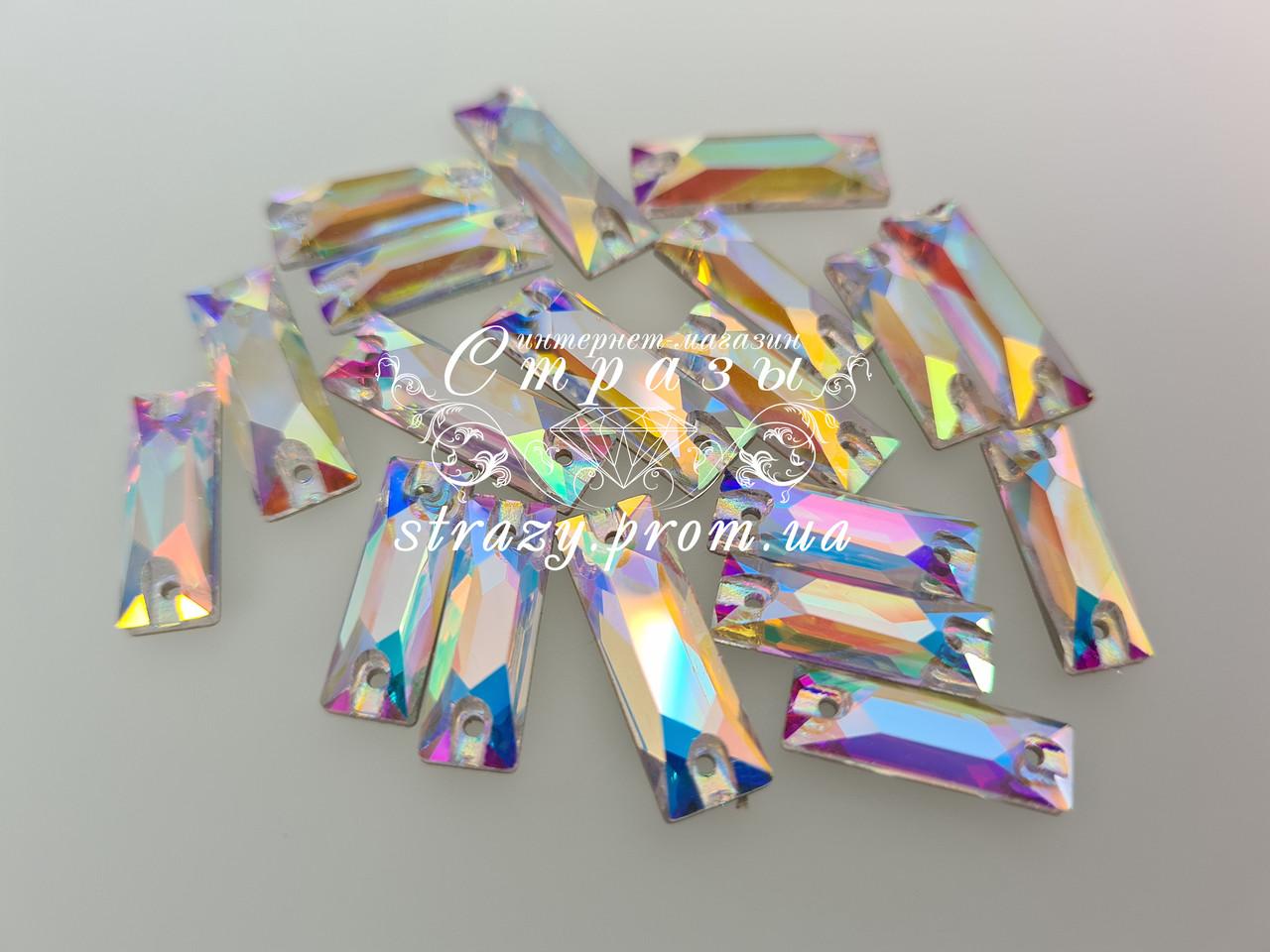 Стразы пришивные Lux Багет  6*18мм. Crystal AB