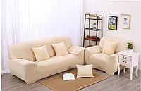 Чехол на трехместный диван HomyTex универсальный Бифлекс Бежевый, 195*230