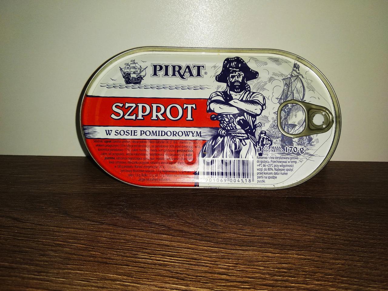 Шпроти в томаті  Pirat Szprot 170 гр.