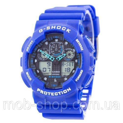 Чоловічий наручний годинник Casio G-Shock GA-100 Blue-Black електронний і кварцовий механізм