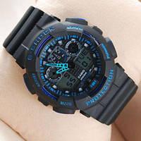 Мужские наручные часы Casio G-Shock GA-100 Black-Black-Blue электронный и кварцевый механизм