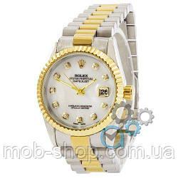 Жіночий наручний годинник Rolex Date Just Silver-Gold-White Pearl кварцовий механізм
