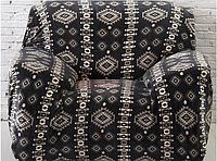 Чехол на кресла HomyTex универсальные Замша с рисунком Черный ромб