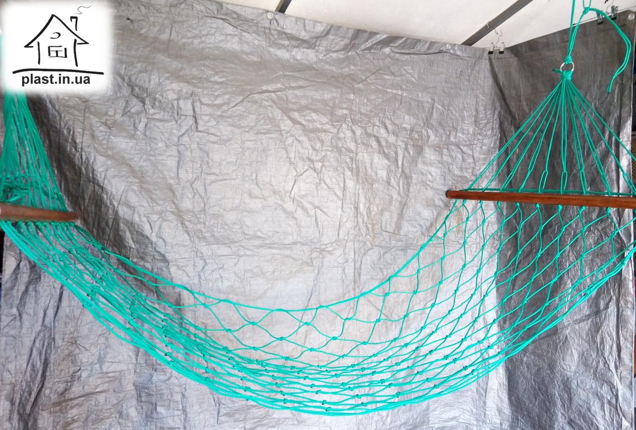 Гамак веревочный одноместный на лакированной планке