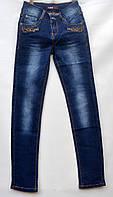 Джинсы для девочки 10-14 лет синие с потертостями модель - 28143
