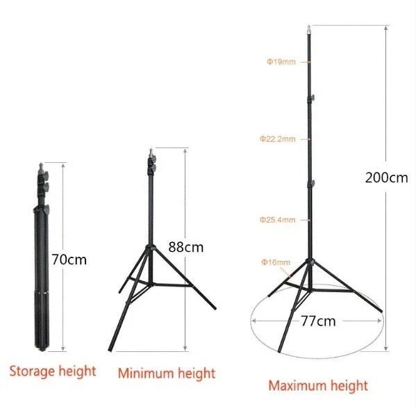 Складной штатив повышенной прочности 2 метра Durable Telescopic Stand 2m стойка для телефона камеры фотостудии