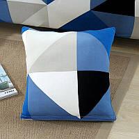 Наволочка декоративная HomyTex с рисунком Ромб сине-голубой, 45*45