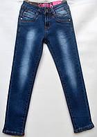 Джинсы для девочки 6-10 лет синие с потертостями модель - 28144