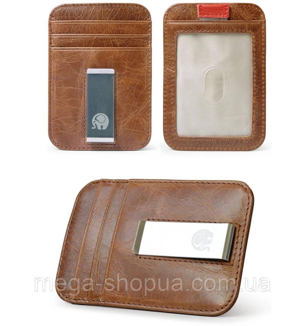 Мужской кожаный зажим для денег Elite Leather Wallet Brown