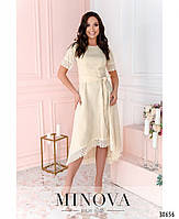 Привабливе плаття, прикрашене на рукавах і подолі мереживом з 46 по 54 розмір, фото 4