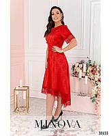 Привабливе плаття, прикрашене на рукавах і подолі мереживом з 46 по 54 розмір, фото 3