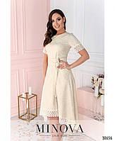 Привабливе плаття, прикрашене на рукавах і подолі мереживом з 46 по 54 розмір, фото 5