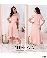 Привабливе плаття, прикрашене на рукавах і подолі мереживом з 46 по 54 розмір, фото 2
