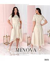 Привабливе плаття, прикрашене на рукавах і подолі мереживом з 46 по 54 розмір, фото 7