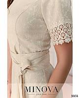 Привабливе плаття, прикрашене на рукавах і подолі мереживом з 46 по 54 розмір, фото 8