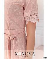 Привабливе плаття, прикрашене на рукавах і подолі мереживом з 46 по 54 розмір, фото 6